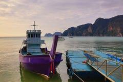 Boat harbour, beach, Tonsay Bay, Phi Phi, Thailand Stock Photos