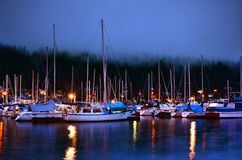 Boat Harbour in British Columbia Buring Blue Hour Stock Images