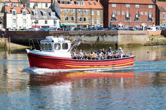 Boat in harbour. Boat carrying tourists in Whitby harbour Stock Photos