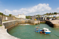 Boat in harbour Charlestown Cornwall England UK near St Austell Stock Photos