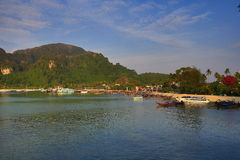 Boat Harbour, Tonsai Bay, Phi Phi,  Thailand Royalty Free Stock Photography