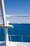 Boat heading for new diving de. Stination at sea Royalty Free Stock Photo