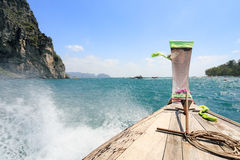 Boat heading to Poda island right  ,Krabi Thailand Royalty Free Stock Images