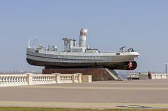 Boat Hero Fin on the Lower - Volga embankment. Close-up. Russia. stock photography