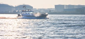 Boat at high speed. Passing by on the river Stock Images
