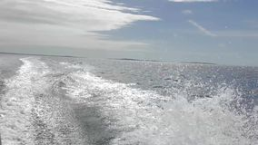 Speed boat. The boat at high speed moves on the sea stock video footage
