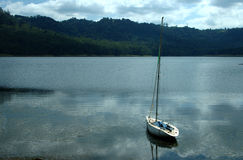 Boat for hire. A hire sail boat waits for a sailor Royalty Free Stock Photo