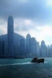 Boat in Hong Kong. Sailing boat with Hong Kong view Stock Images