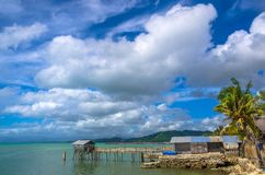 Boat House. And bamboo pier Stock Photos