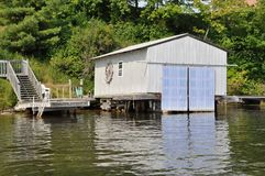 Boat house along the river. Closed old wooden boat house along the river stock image