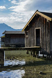 Boat house on Bavarian lake Stock Photos