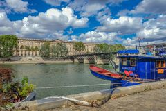 Boat house en Siene river Paris royalty free stock photography