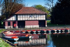 Boat House on a Lake Royalty Free Stock Photos