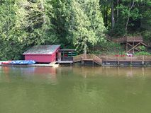 Boat house on the lake Stock Photo
