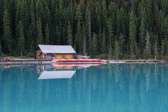 Boat house in lake louise royalty free stock photos