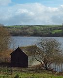 Boat House Loe Pool Cornwall. Boathouse on the shore of Loe Pool in the Penrose Estate near Helston in Cornwall Stock Photo