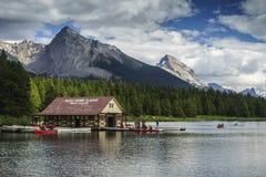 The Boat House. Maligne Lake, Jasper National Park, Alberta, Canada Royalty Free Stock Images