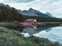 The boat house on Maligne Lake of Jasper National Park. Is as picturesque as it gets in the rocky mountains Stock Photo