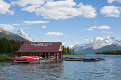 Boat house at Maligne Lake, Jasper National Park, Canada Stock Image