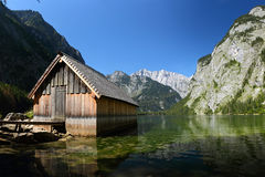 Boat house at the Obersee in bavarian alps Stock Image