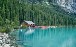 Free Boat House On Lake Louise, Banff, Alberta, Canada Stock Images - 126749774