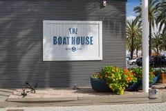 The Boat House restaurant. PALMA DE MALLORCA, SPAIN - APRIL 19, 2015: The Boat House restaurant sign with flower decorations on April 19, 2015 in Palma de Royalty Free Stock Images