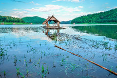 Boat house river Stock Image