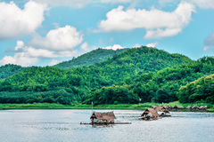 Boat house river mountain Royalty Free Stock Photo