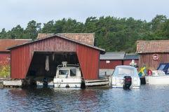 Boat house Stockholm archipelago Royalty Free Stock Photos