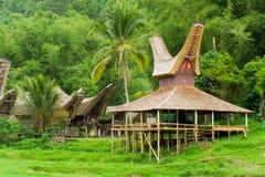 Boat House Tana Toraja Village Close Royalty Free Stock Photos