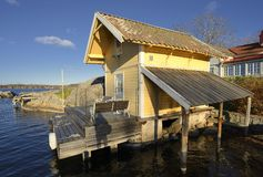 Boat House in Vaxholm Stock Images
