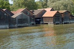 Boat Houses on Ammersee Lake Stock Photography