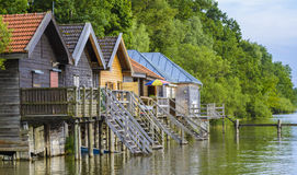 Boat houses on Ammersee Lake Stock Photo