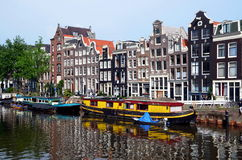 Boat houses. In Amsterdam, Holland Royalty Free Stock Photography