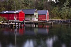Boat houses in Bergen, Norway. Boat houses in Bergen Norway, the entry to the fjords Royalty Free Stock Images