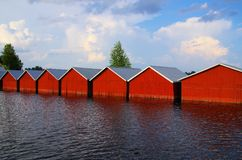 Boat houses Finland Royalty Free Stock Image