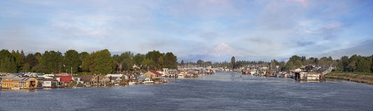 Boat Houses at Hayden Island Oregon Royalty Free Stock Photos