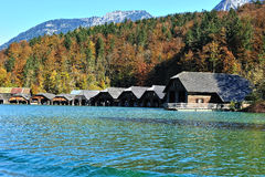 Boat houses on the Konigssee lake Stock Image