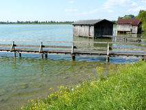 Boat houses on lake Royalty Free Stock Images