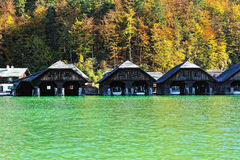 Boat houses on the lake Stock Photo