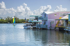 Boat Houses. Picturesque Boat Houses located on a canal at Key West, Florida Royalty Free Stock Photos