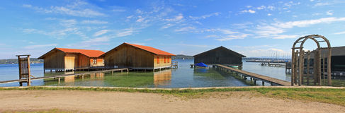Boat houses at starnberger see, bavaria Stock Image