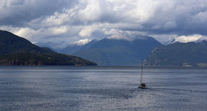 Boat in Howe Sound Royalty Free Stock Photography