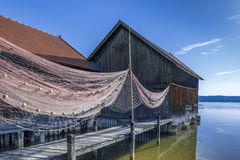 Boat hut in Diessen on Lake Ammersee, Bavaria Stock Images