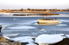 Boat in ice Stock Images