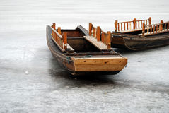 Boat on ice above stock image