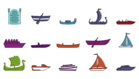 Boat icon set, color outline style. Boat icon set. Color outline set of boat vector icons for web design isolated on white background Stock Photo