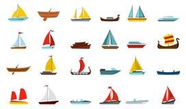 Boat icon set, flat style stock illustration