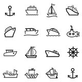 16 Boat icons. Is available for your designs Royalty Free Stock Photos