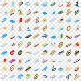 100 boat icons set, isometric 3d style Royalty Free Stock Images